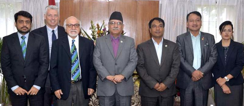 Prime Minister Pushpa Kamal Dahal with ICC officials