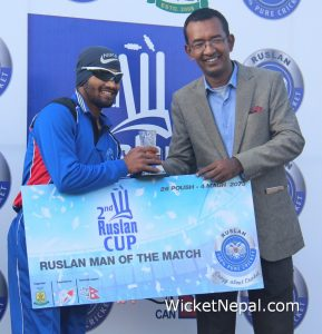 Dipendra Airee Player of the Final Ruslan Cup