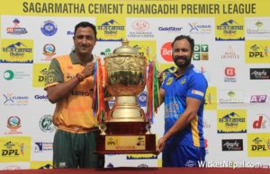 Paras Khadka & Sharad Vesawkar with DPL Winning Trophy