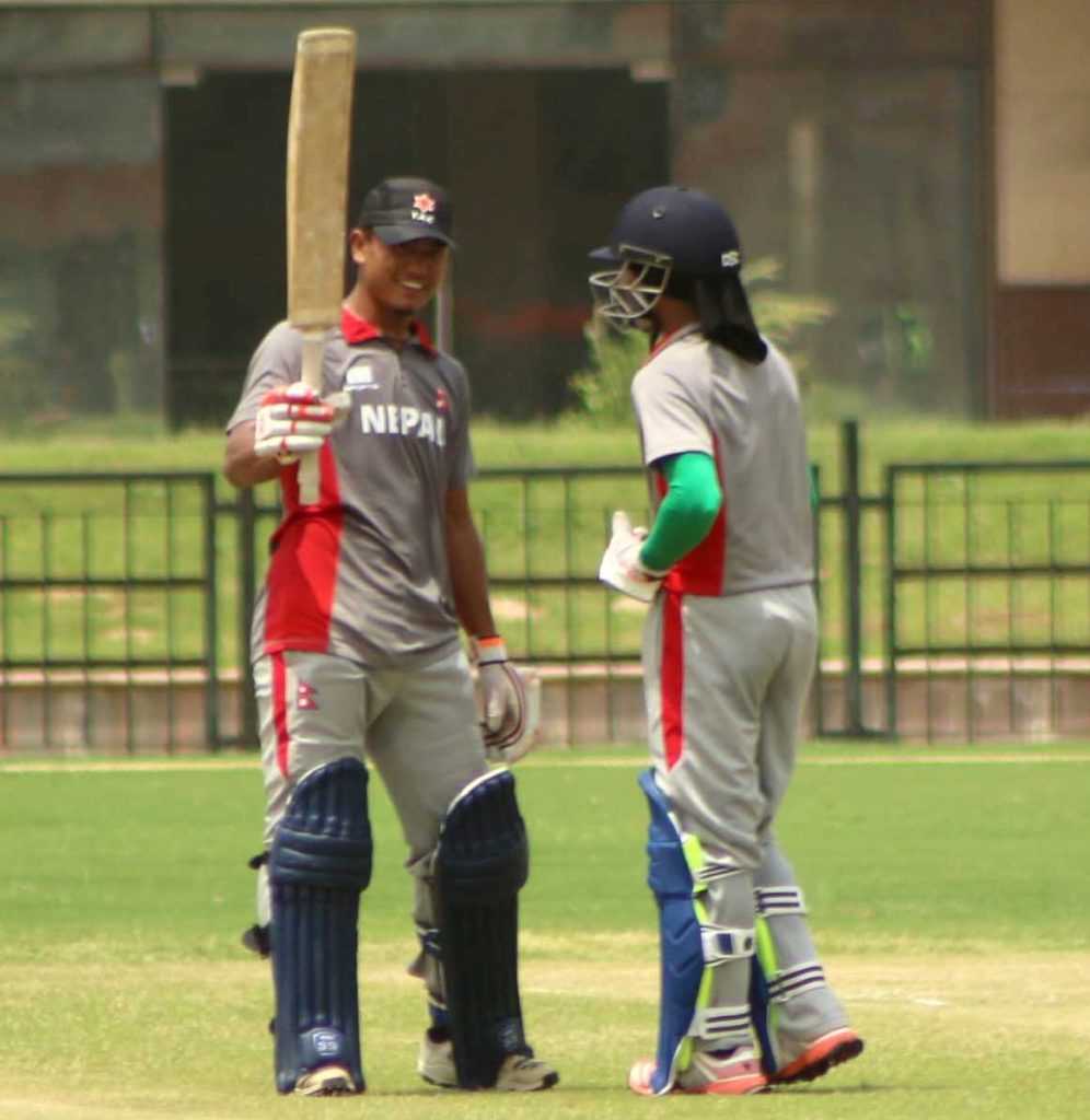 Pranit Thapa after scoring half century
