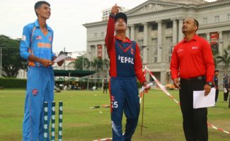 Virandeep Singh and Sandeep Lamichhane during toss