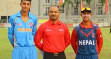 Match referee Durganath Subedi with Sandeep Lamichhane and Devendra Subedi