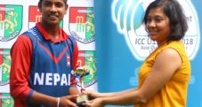 Sandeep Lamichhane with Man of the Match award