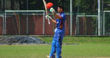 IBRAHIM ZADRAN of Afghanistn U19 after scoring Century