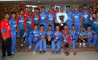 Afghanistan U19 & Nepal U19 team together