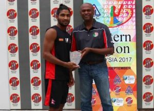 Dipendra Airee receiving Man of the match
