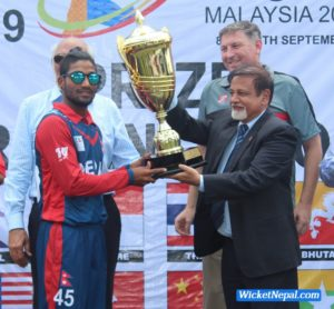 Captain Dipendra Airee with Winning trophy