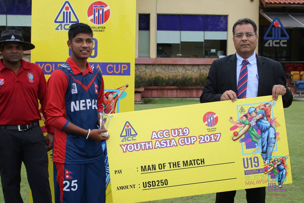 Sandeep Lamichhane was adjudged man of the match for his brilliant 5-wicket haul
